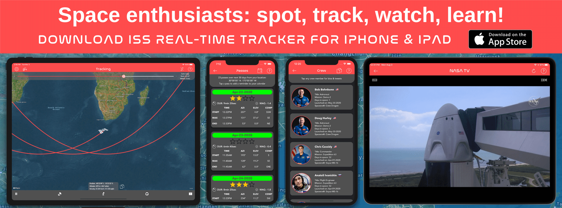 Track, find, locate, spot the International Space Station - ISS - get passes and more with ISS Real-Time Tracker for iPhone, iPad, and iPod touch