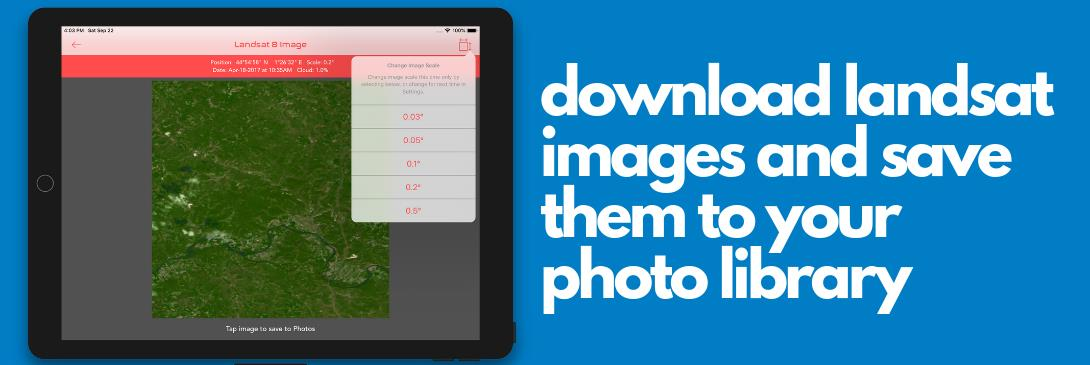 Download Landsat 8 images and save them to your photo library with ISS Real-Time Tracker app for iOS devices